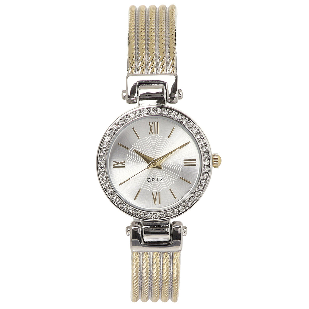 Round Crystal Face Two Tone Rope Band Bracelet Cuff Watch (Silver Tone/Gold Tone)