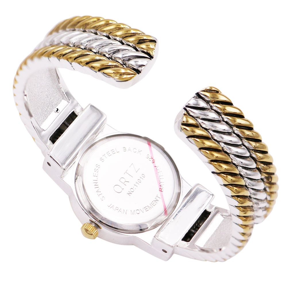 Petite Mother of Pearl Face Two Tone Rope Bracelet Cuff Watch