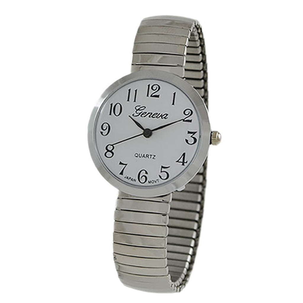Round Geneva Stretch Band Watch (Silver)