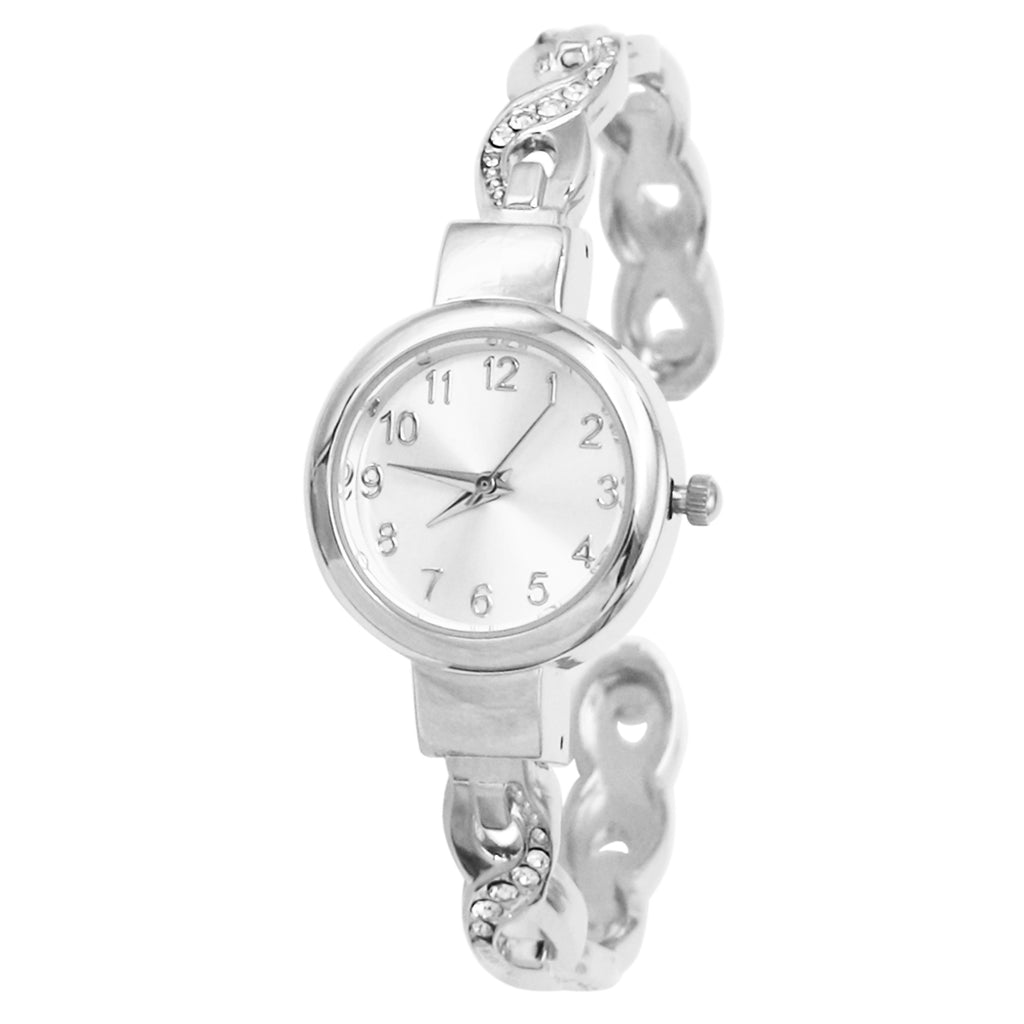 Crystal Embellished Twist with Round Face Metal Cuff Bracelet Watch