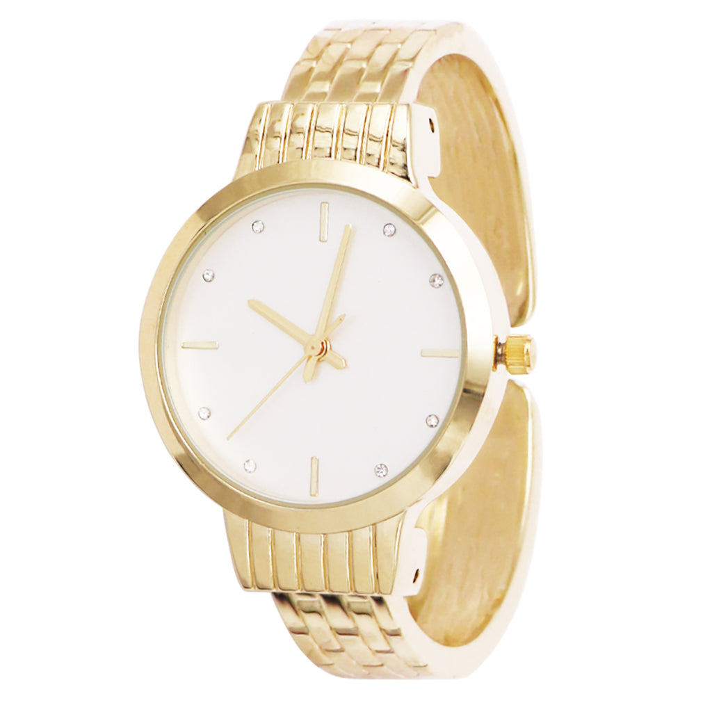 Stylish Matte Silver Face Brick Pattern Cuff Bracelet Watch (Gold Tone)