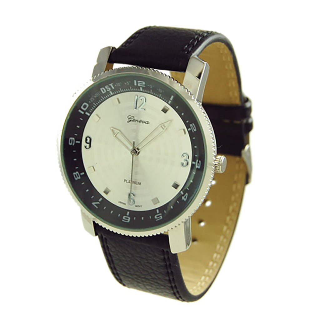 Rosemarie Collections Men's Black and Silver Large Round Watch with Vegan Leather Band