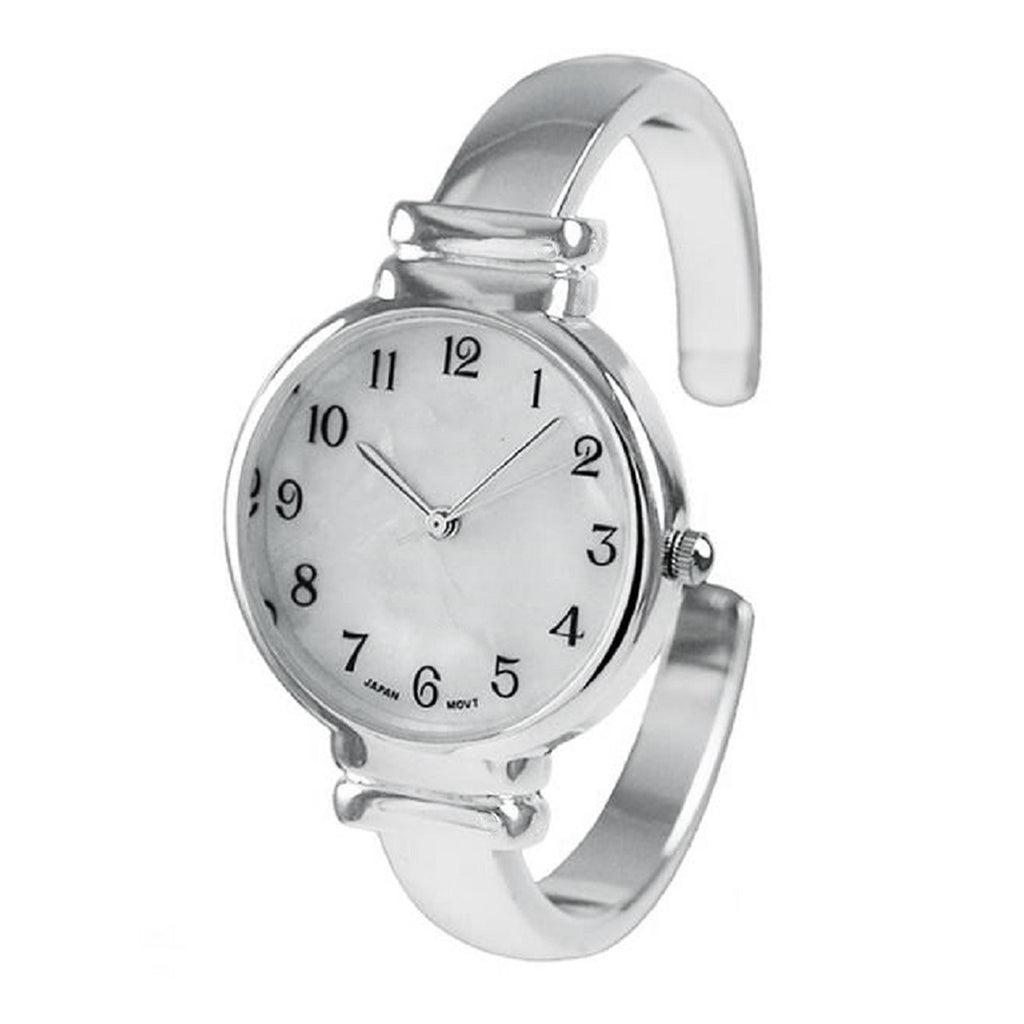 Mother of Pearl Face Metal Band Open Cuff Watch (Silver)