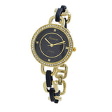 Geneva Fashion Stylish Crystal Surround Round Face Colored Link Band Bracelet Watch (Navy)