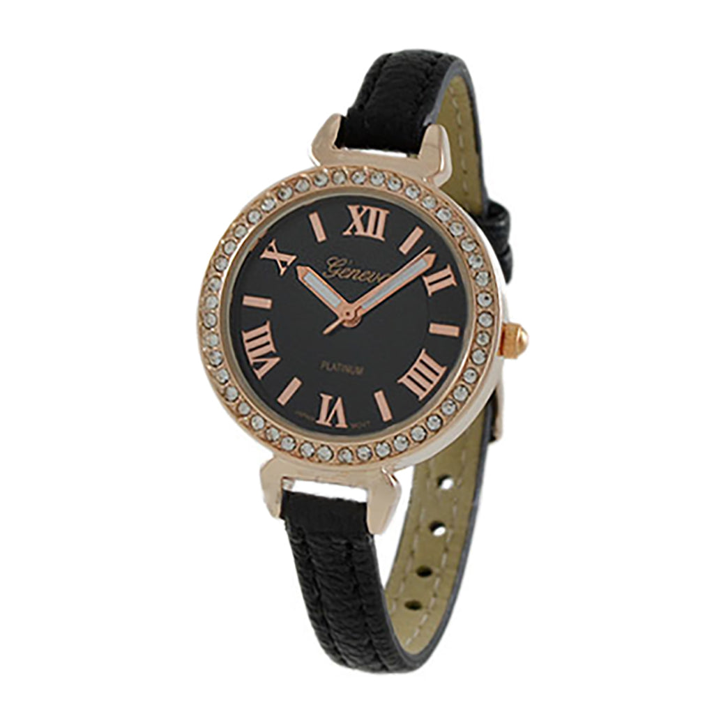 Round Rhinestone and Roman Numeral Geneva Fashion Watch