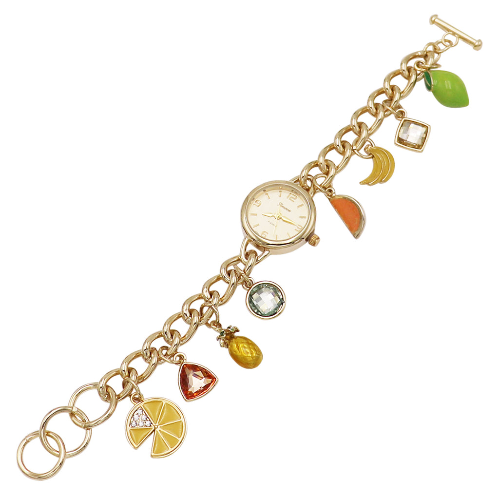 Whimsical Fruit Charms Metal Link Bracelet Watch (Gold)