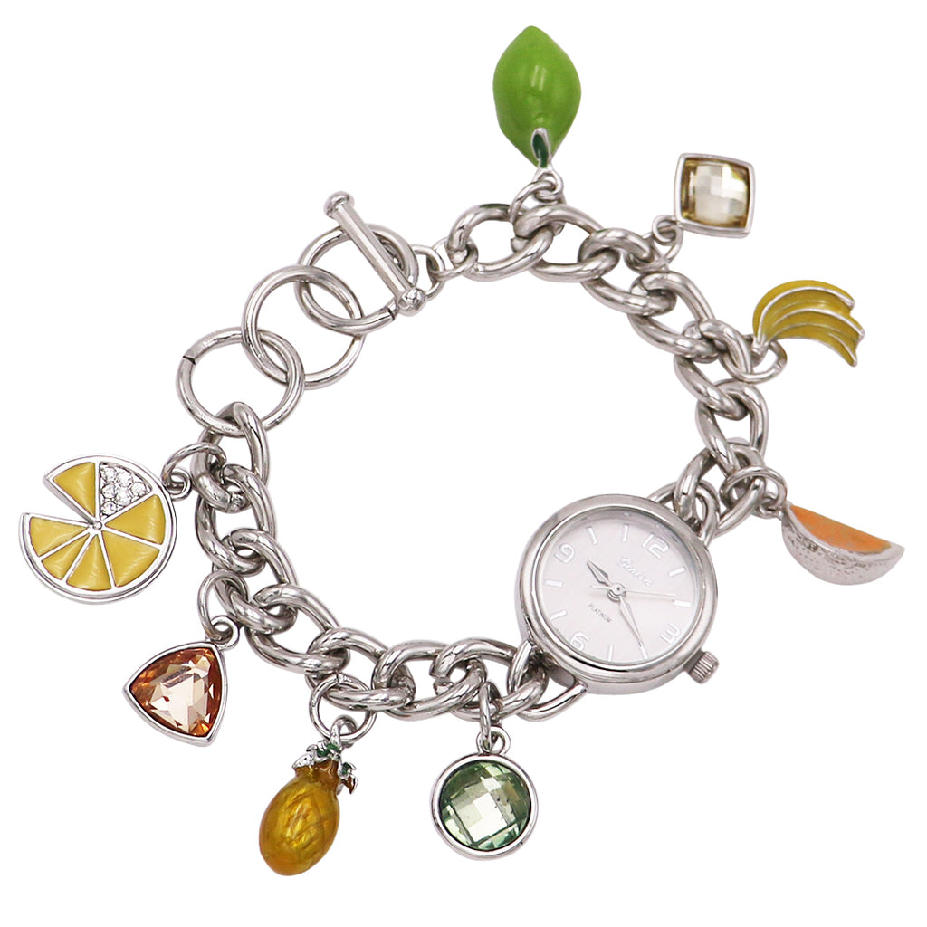 Whimsical Fruit Charms Metal Link Bracelet Watch (Silver)
