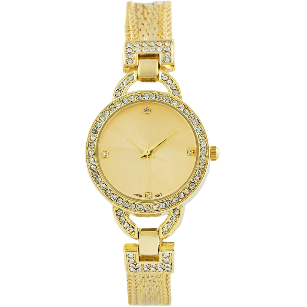 Crystal Embellished Bracelet Watch (Gold)