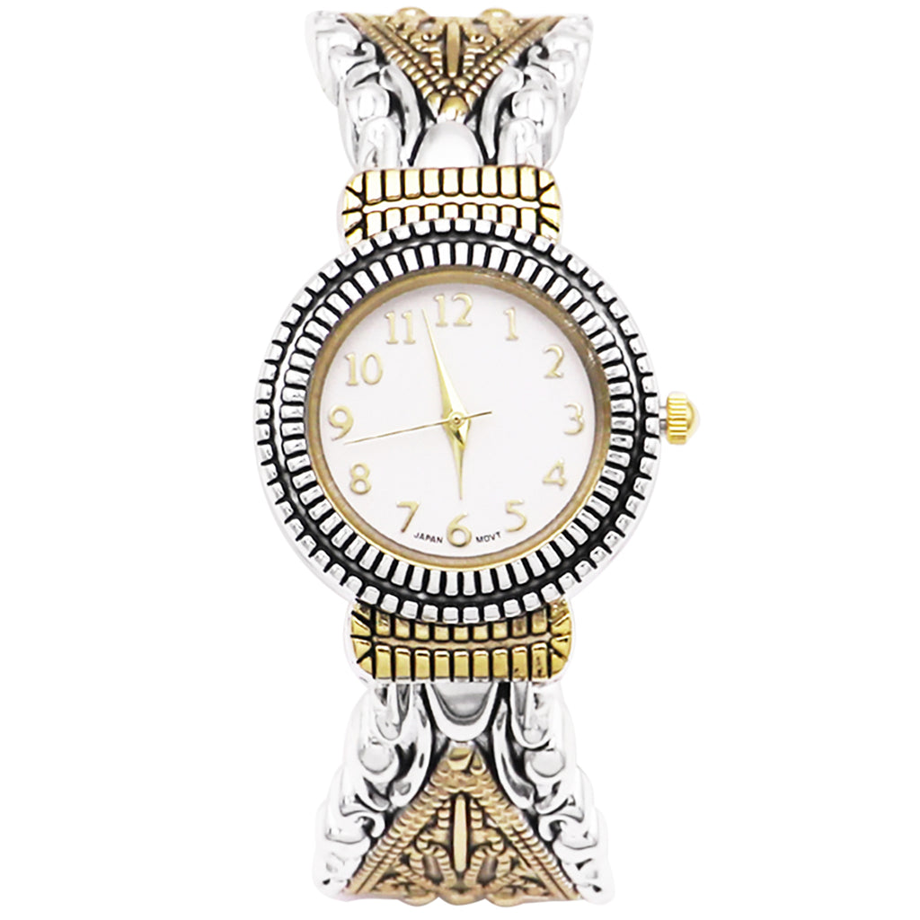 Stylish Concho Two Tone Bangle with Intricate Detail Cuff Bracelet Watch