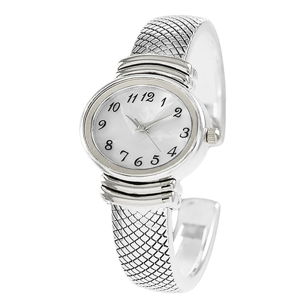 Stylish Oval Shaped Mother of Pearl Face and Textured Cuff Watch Bracelet (Silver)