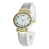 Stylish Oval Shaped Mother of Pearl Face and Textured Cuff Watch Bracelet (Silver/Gold)