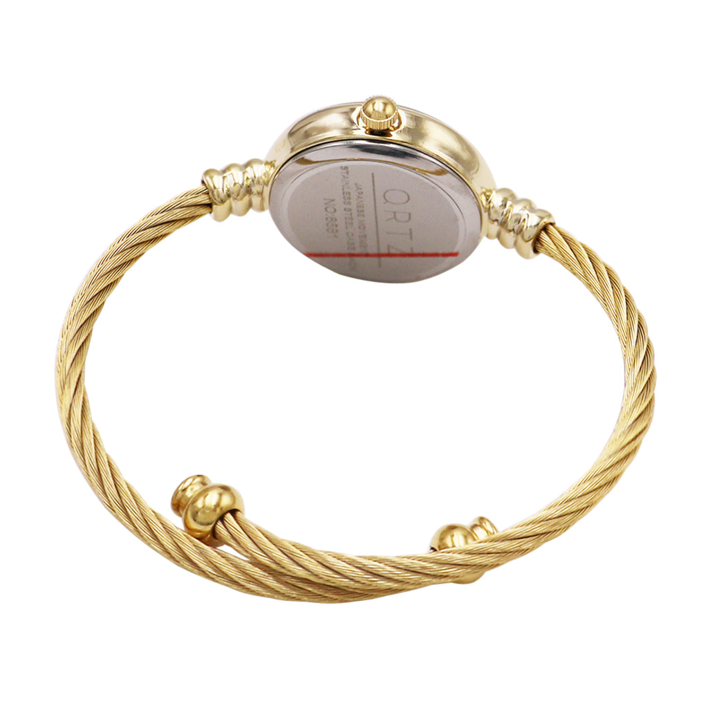Mother of Pearl Coil Rope Twist Cuff Bracelet Watch (Gold Tone)