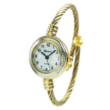 Mother of Pearl Coil Rope Twist Bracelet Watch (Gold/Silver)