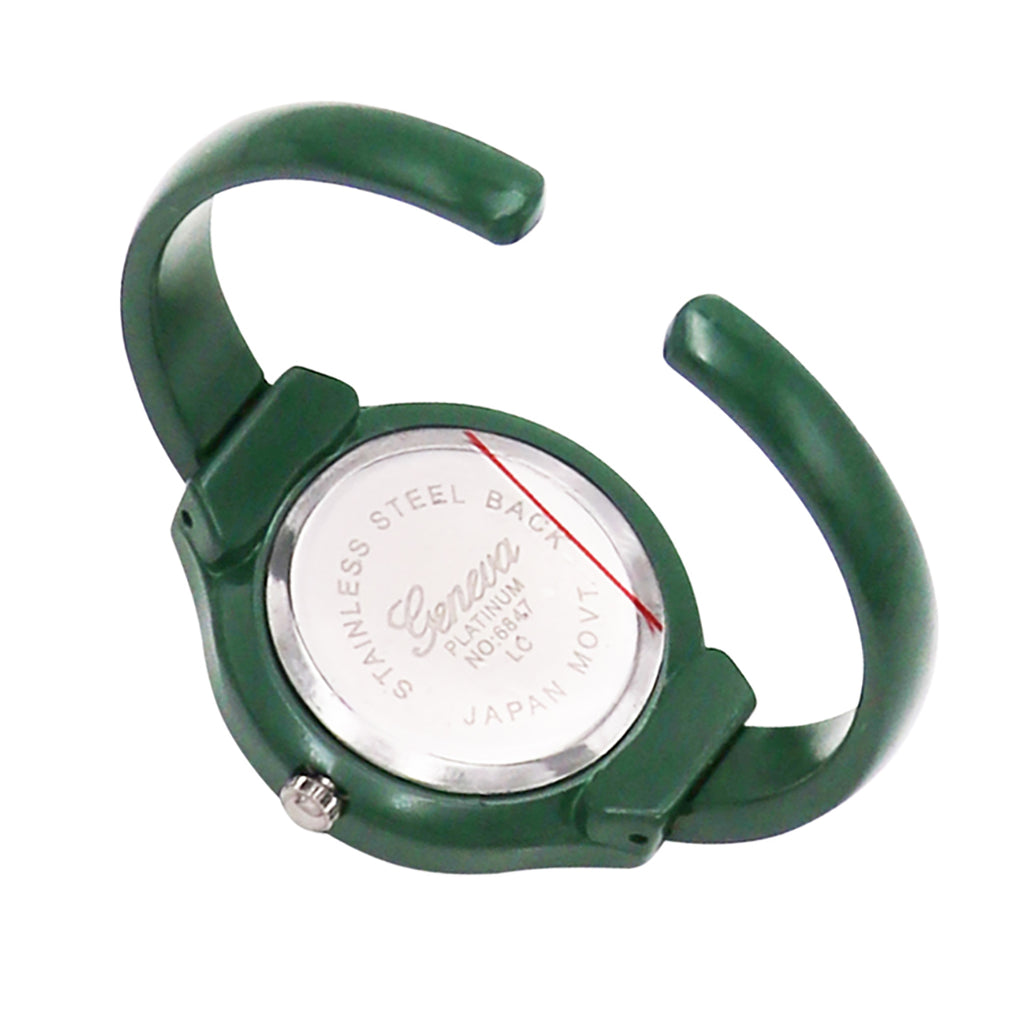 Green Enamel Holiday Christmas Tree Cuff Bangle Watch