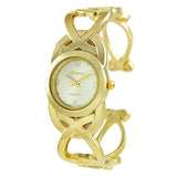Classic Matte Gold Open Cuff Bangle Bracelet Watch
