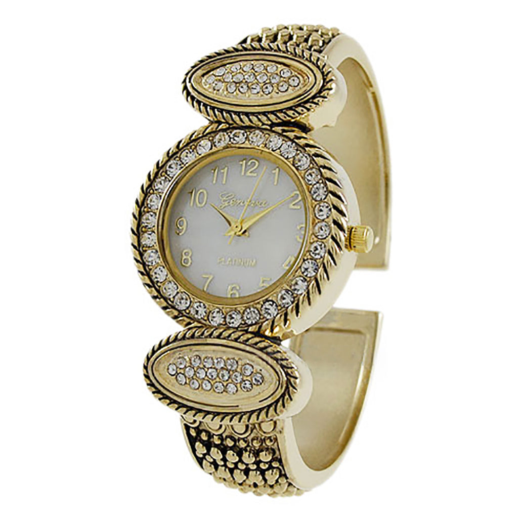 Mother of Pearl and Crystal Embellished Studded Cuff Bracelet Watch