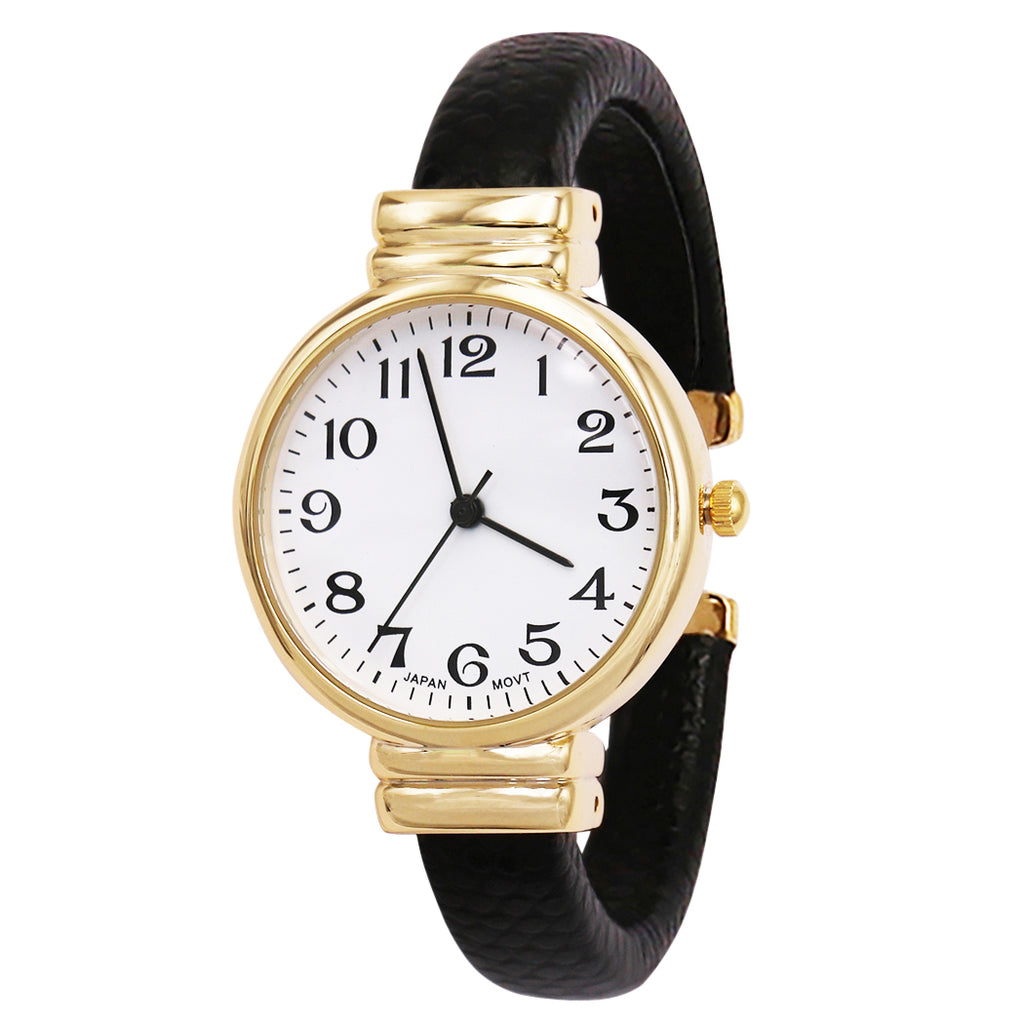 Faux Snake Skin Patterned Cuff Watch (Black/Gold)