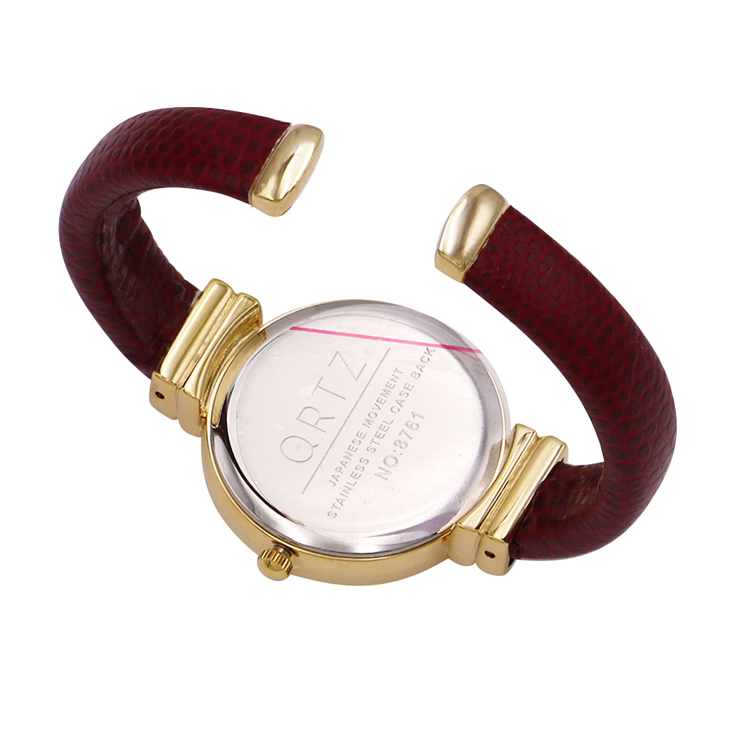 Faux Snake Skin Patterned Cuff Watch (Deep Red)