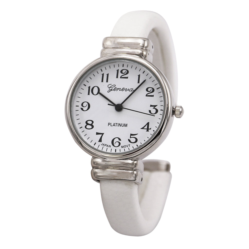Faux Snake Skin Patterned Cuff Watch (White)