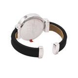Round Face Vegan Leather Cuff Bracelet Watch (Black)