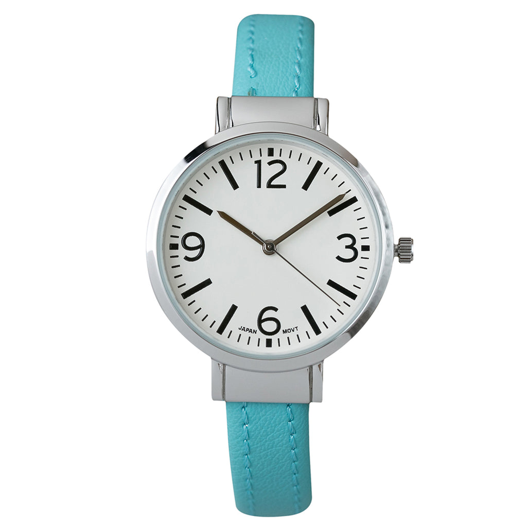 Round Face Vegan Leather Cuff Bracelet Watch (Turquoise)