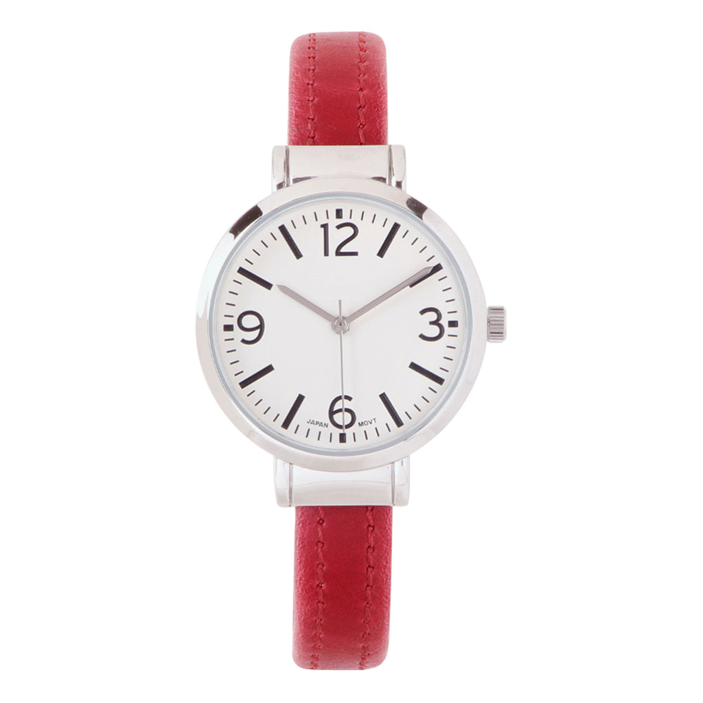 Round Face Vegan Leather Cuff Bracelet Watch (Wine Red)