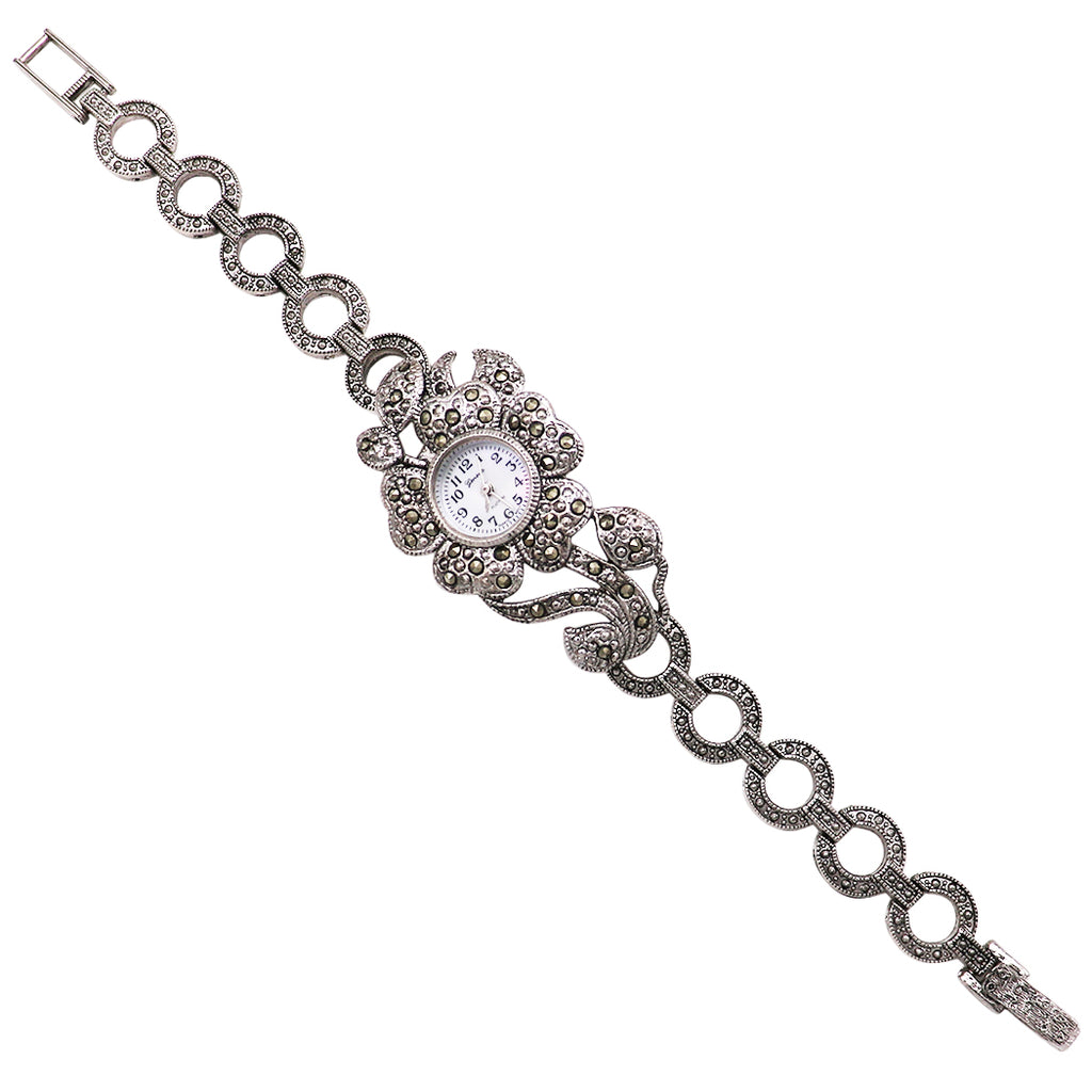 Favorite Rhinestone Flower Link Bracelet Watch