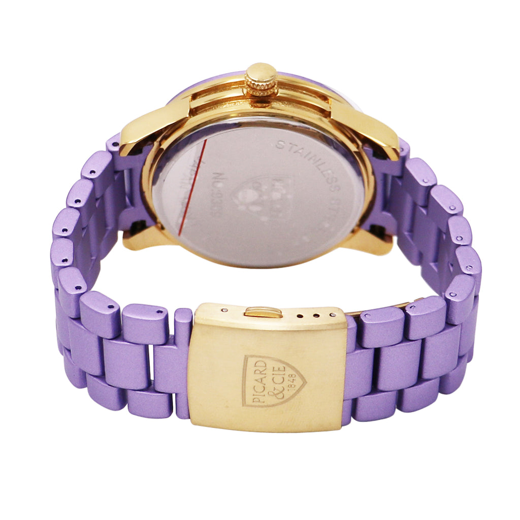 Beautiful Pink Flower Face with Crystal Accents Bracelet Watch (Purple)
