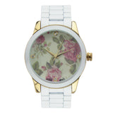 Flower Face with Crystal Accents Bracelet Watch (White)