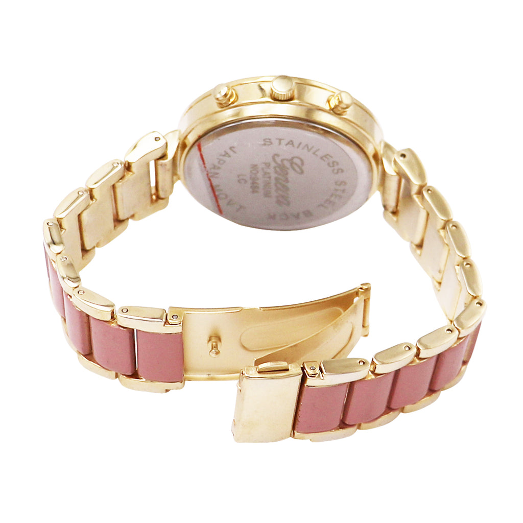 Rhinestone and Flower Face Bracelet Watch (Light Pink)