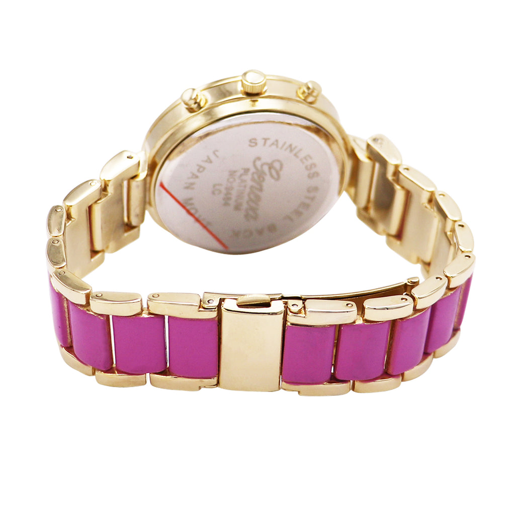 Crystal Surround and Flower Face Bracelet Watch (Violet)