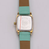 Colorful Fun Square Face Fashion Watch with Faux Leather Band (Mint)