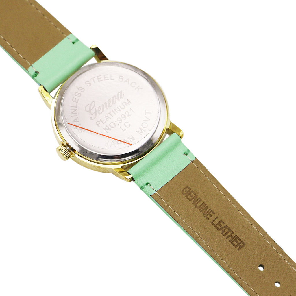 Geneva Fashion Watch with Leather Band (Gold/Mint)