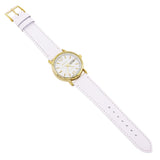 Geneva Fashion Watch with Leather Band (Gold/White)