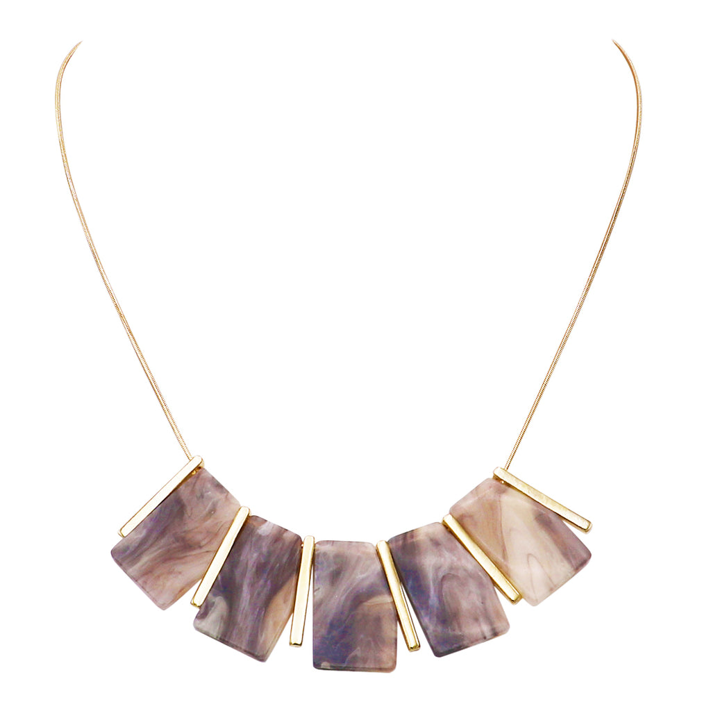 "Women's Classic and Bold Lucite Tiles with Gold Tone Bars Bib Necklace, 18"" with 2"" Extender"