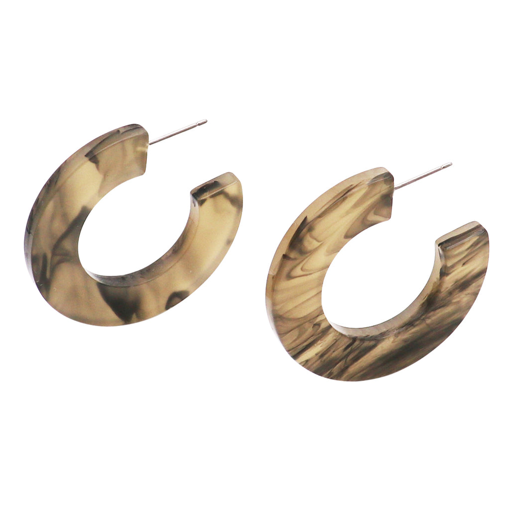 Trending Lucite Hoop Earrings (Multi Grey)