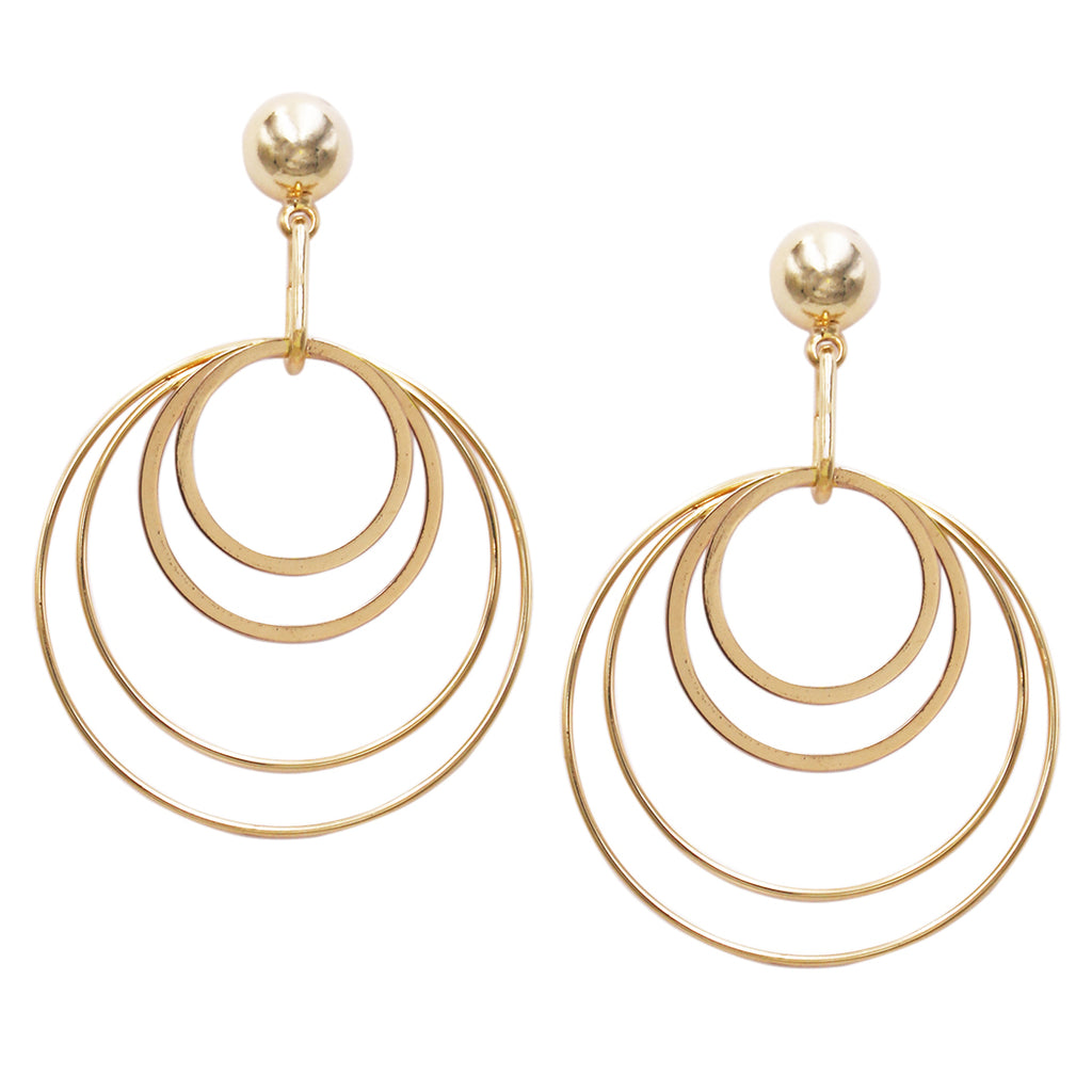 Quadruple Geo Circle Hoop Dangle Earrings