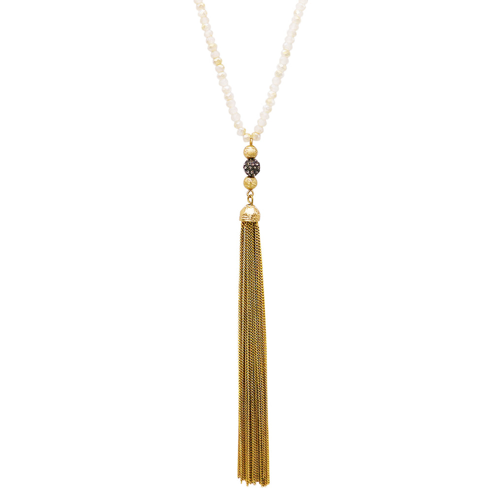 Elegant Glass bead and Chain Tassel Necklace
