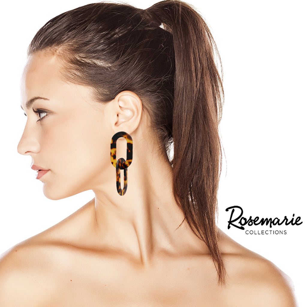 Dangle Link Chain Lucite Hoops Statement Earrings