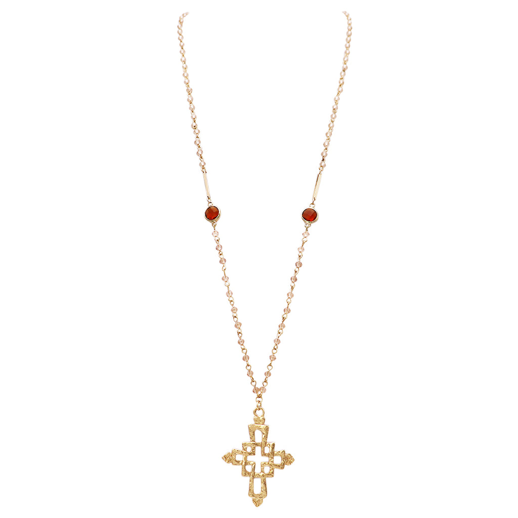 Extra long Adjustable Pendant Cross and Beautiful Chain Necklace