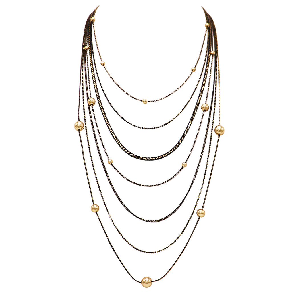 Multi Chain Long Strand Fashion Necklace