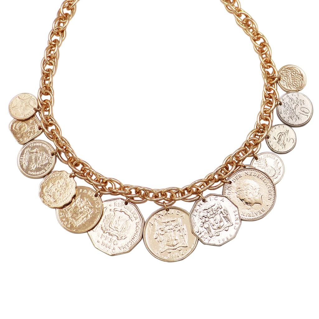 "Women's Trendy Chunky Gold Tone Link Collar Necklace with Coin Disc Charms, 18""-21"" with 3""extender"