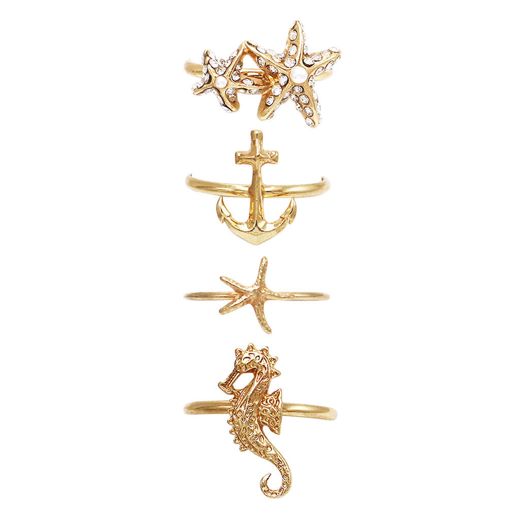Nautical Themed Metal Stacking Ring Set (Gold)