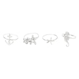 Nautical Themed Metal Stacking Ring Set (Silver)