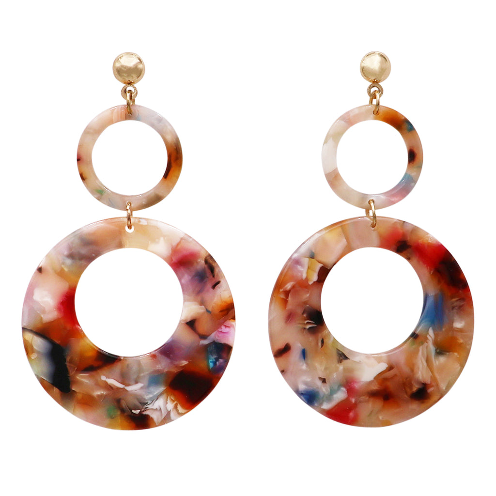 Double Hoop Lucite Drop Dangle Statement Earrings