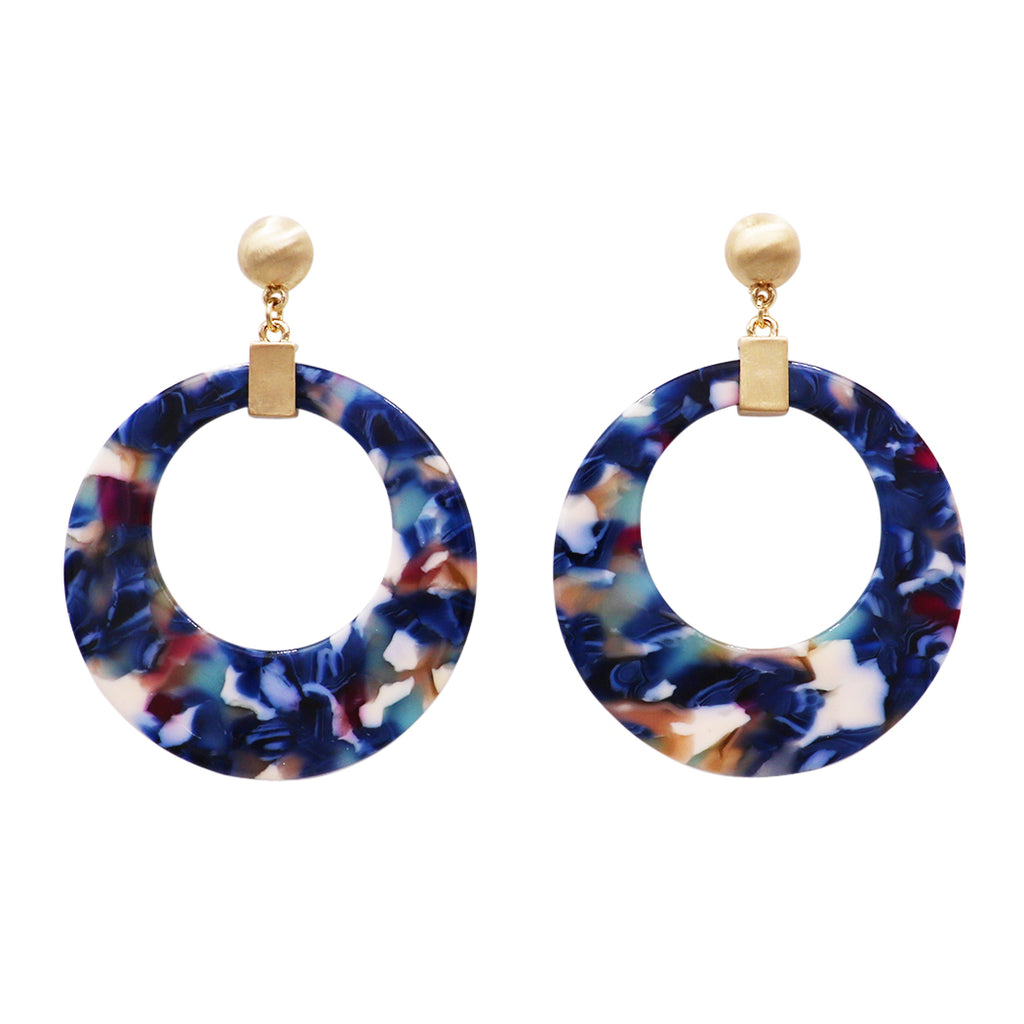 Navy Blue Lucite Hoop with Matte Gold Tone Detail Dangle Drop Earrings