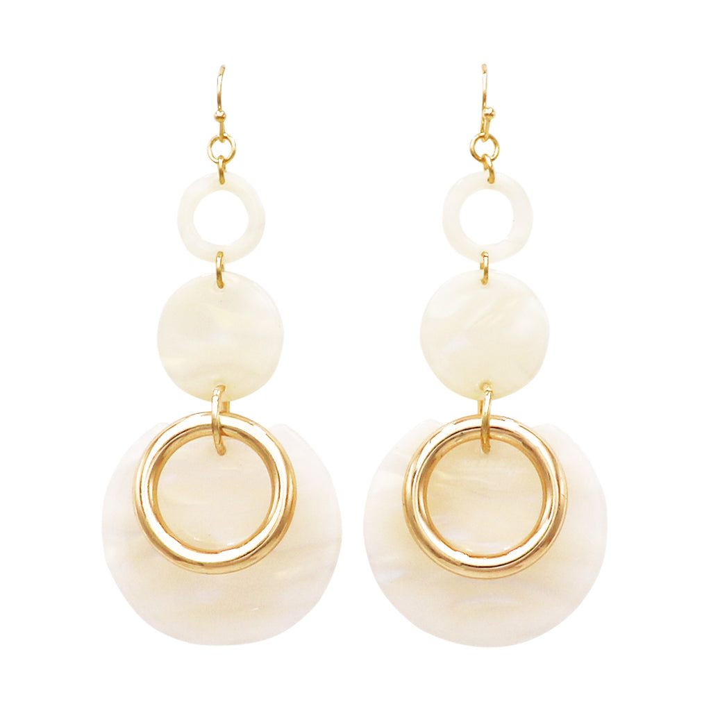 Lucite Long Disc Hoops and Gold Tone Hoop Ivory Dangle Statement Earrings 3""