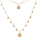 Triple Strand Dainty Chain Necklace with Multiple Coin Disc Charms