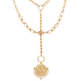 Double Strand Y-Drop Style Collar Necklace with Coin Disc Charms