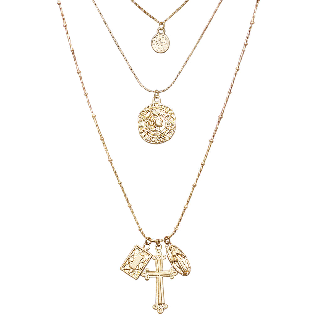 Triple Strand Dainty Chain Necklace with Coin Disc and Religious Medals Virgin Mary Cross Charms